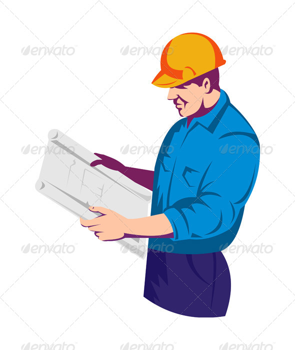 GraphicRiver Construction Worker Engineer with Building Plan 5208034