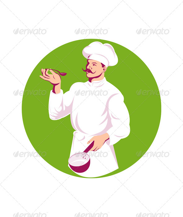 GraphicRiver Chef Holding Sauce Pan and Spoon 5208068