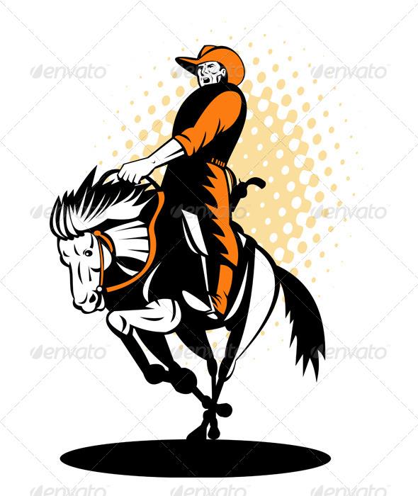 GraphicRiver Rodeo Cowboy Riding a Bucking Bronco 5208094