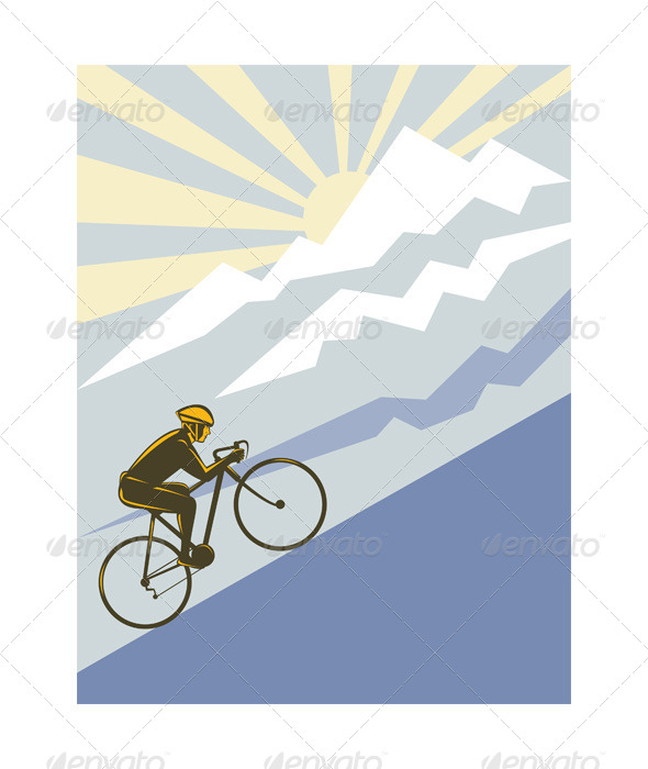 GraphicRiver Cyclist Riding Bicycle up Mountain 5208127