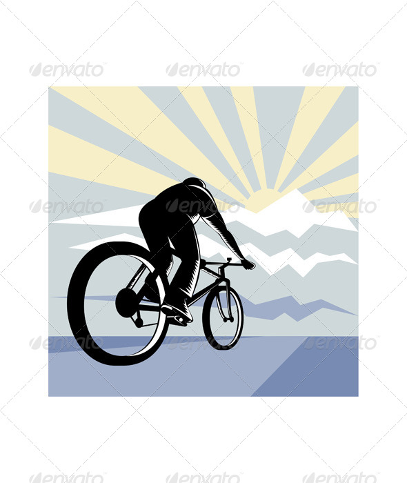 GraphicRiver Cyclist Riding Bicycle with Mountain 5208130