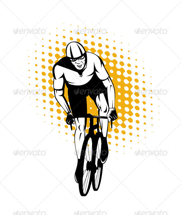 GraphicRiver Cyclist Riding Bicycle Front View 5208137