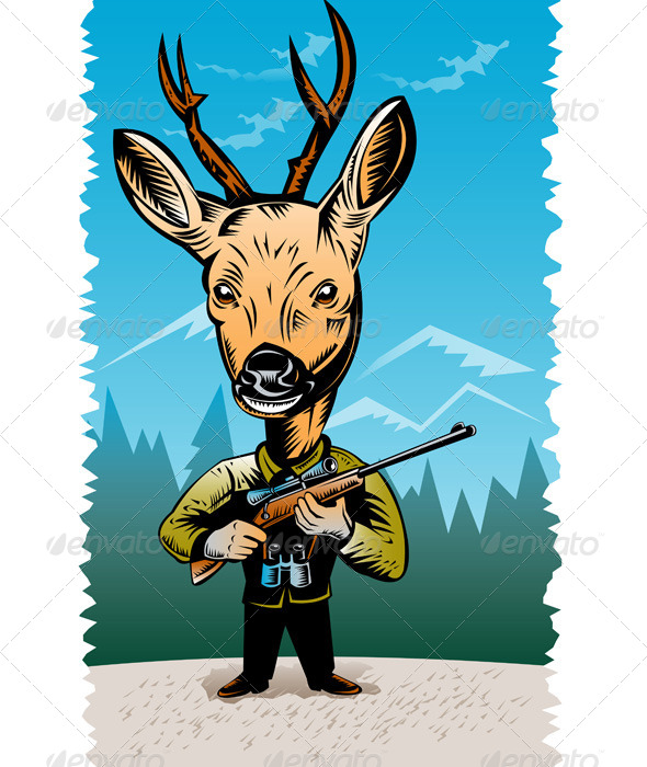 GraphicRiver Deer with Hunting Rifle 5208141