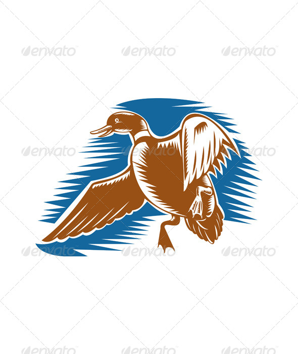 GraphicRiver Duck Flying Done in Woodcut Style 5208166