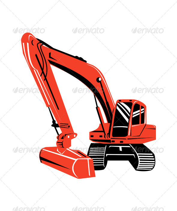 GraphicRiver Mechanical Digger Excavator Retro 5208187