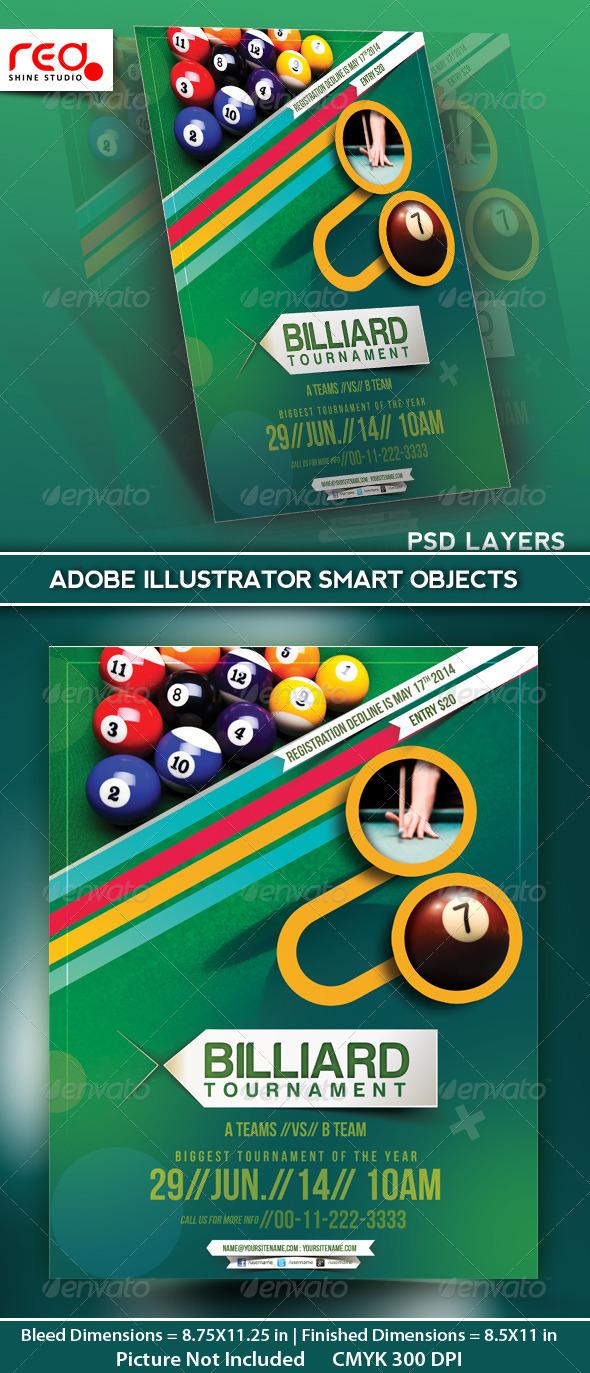 GraphicRiver Billiard Tournament Flyer Poster Magazine Template 5208205