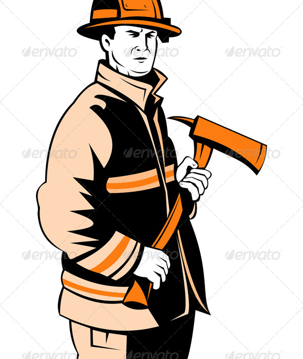 GraphicRiver Fireman Fire Fighter Holding an Axe 5208209