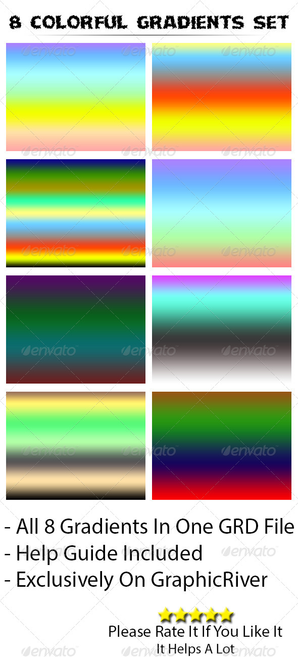 GraphicRiver 8 Colorful Gradients Set 5208386