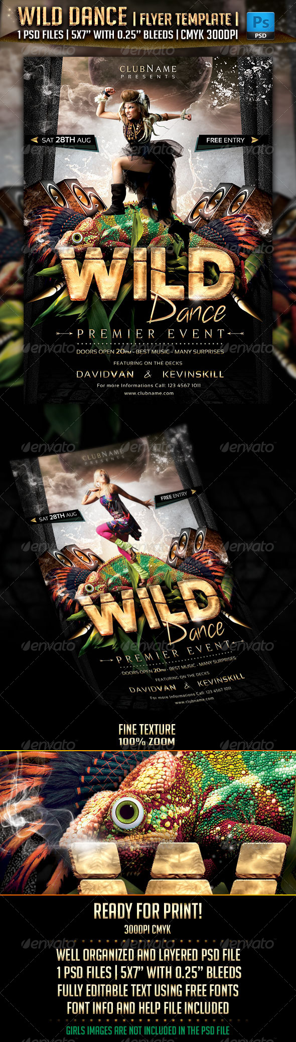 GraphicRiver Wild Dance Flyer Template 5208844
