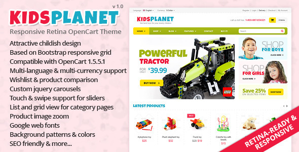 ThemeForest Kids Planet Responsive Retina OpenCart Theme 5187674