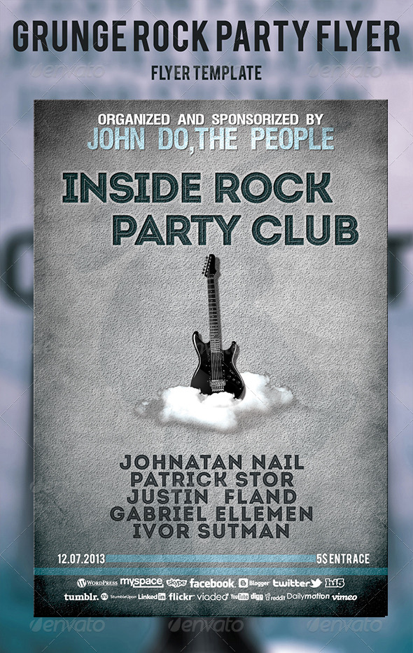 GraphicRiver Grunge Rock Party Flyer 4765441