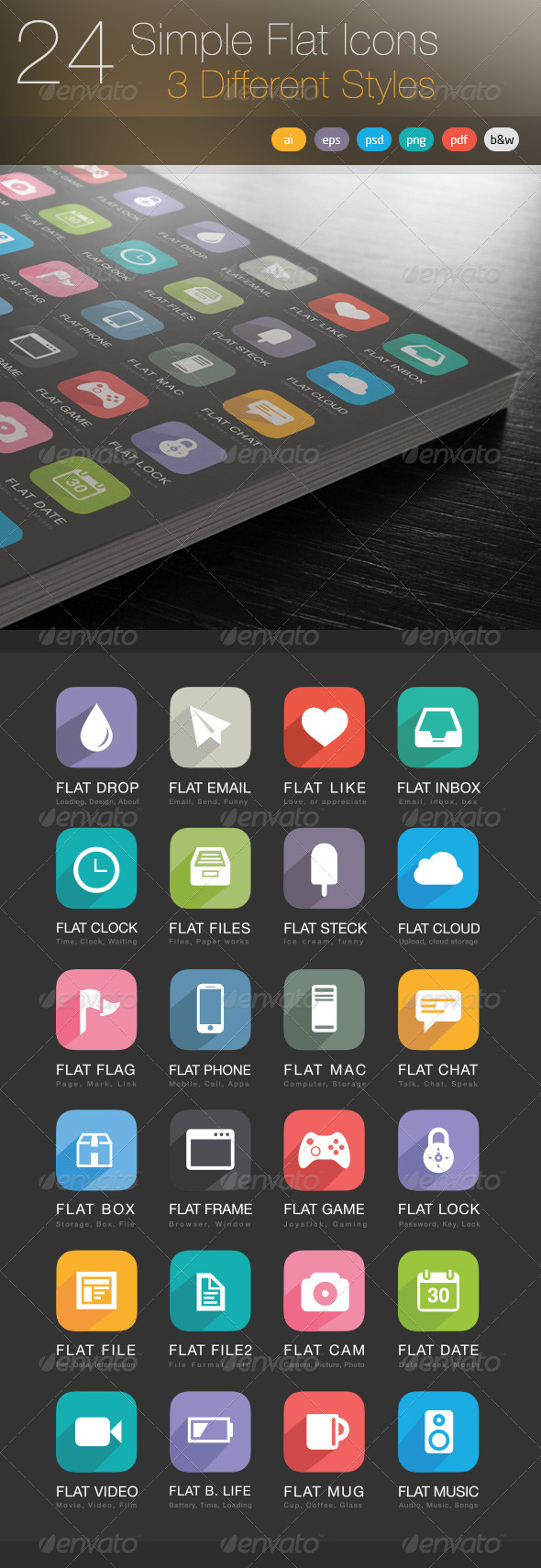 GraphicRiver 24 Simple Flat Icons 5092663