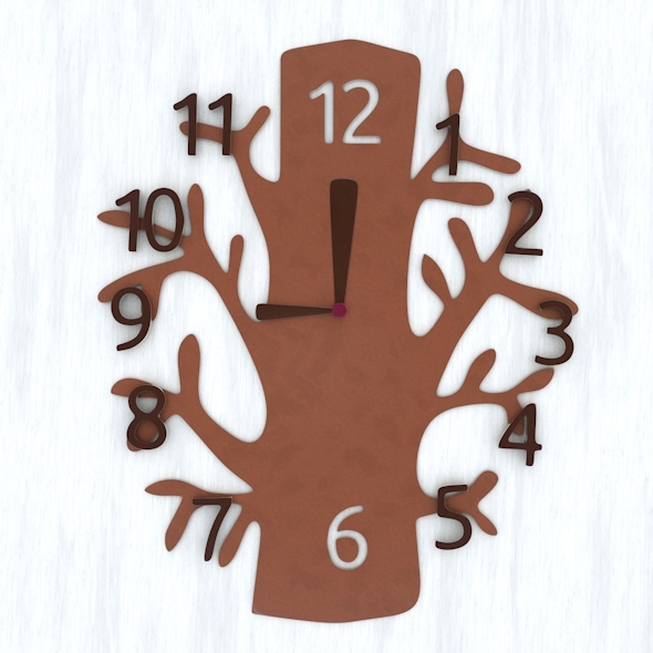 3DOcean Tree Wall Clock and Base Mesh 5209478