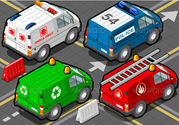 GraphicRiver Isometric Trucks Firefighters Police Ambulance 5209557