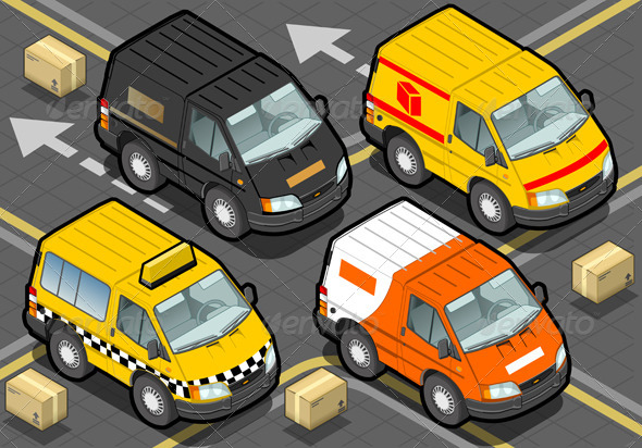 GraphicRiver Isometric Delivery Truck and Taxi in Front View 5209560