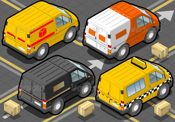 GraphicRiver Isometric Delivery Truck and Taxi in Rear View 5209562