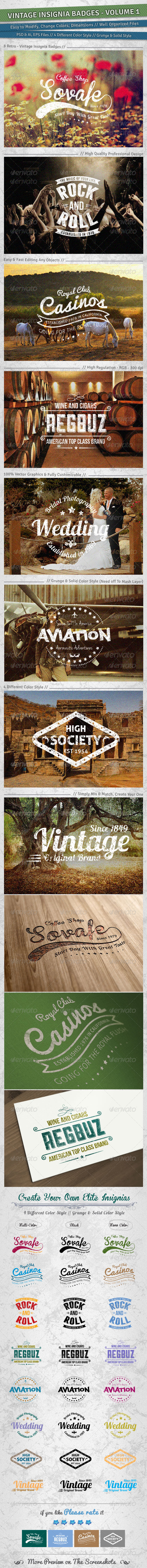 GraphicRiver Vintage Insignia Badges Volume 1 5210268