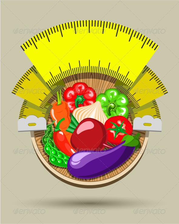 GraphicRiver Dieting Sticker with Vegetables 5210758