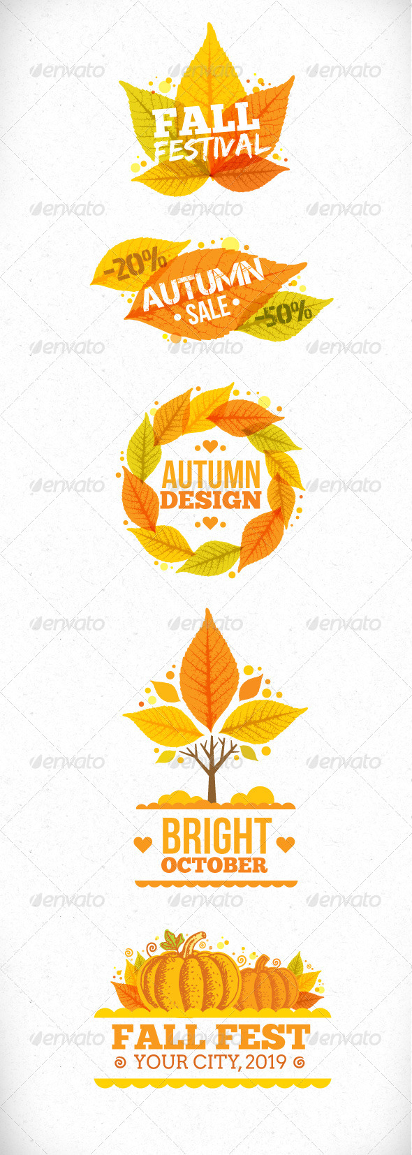 Autumn Leaves Vector Art Design Elements - Seasons Nature