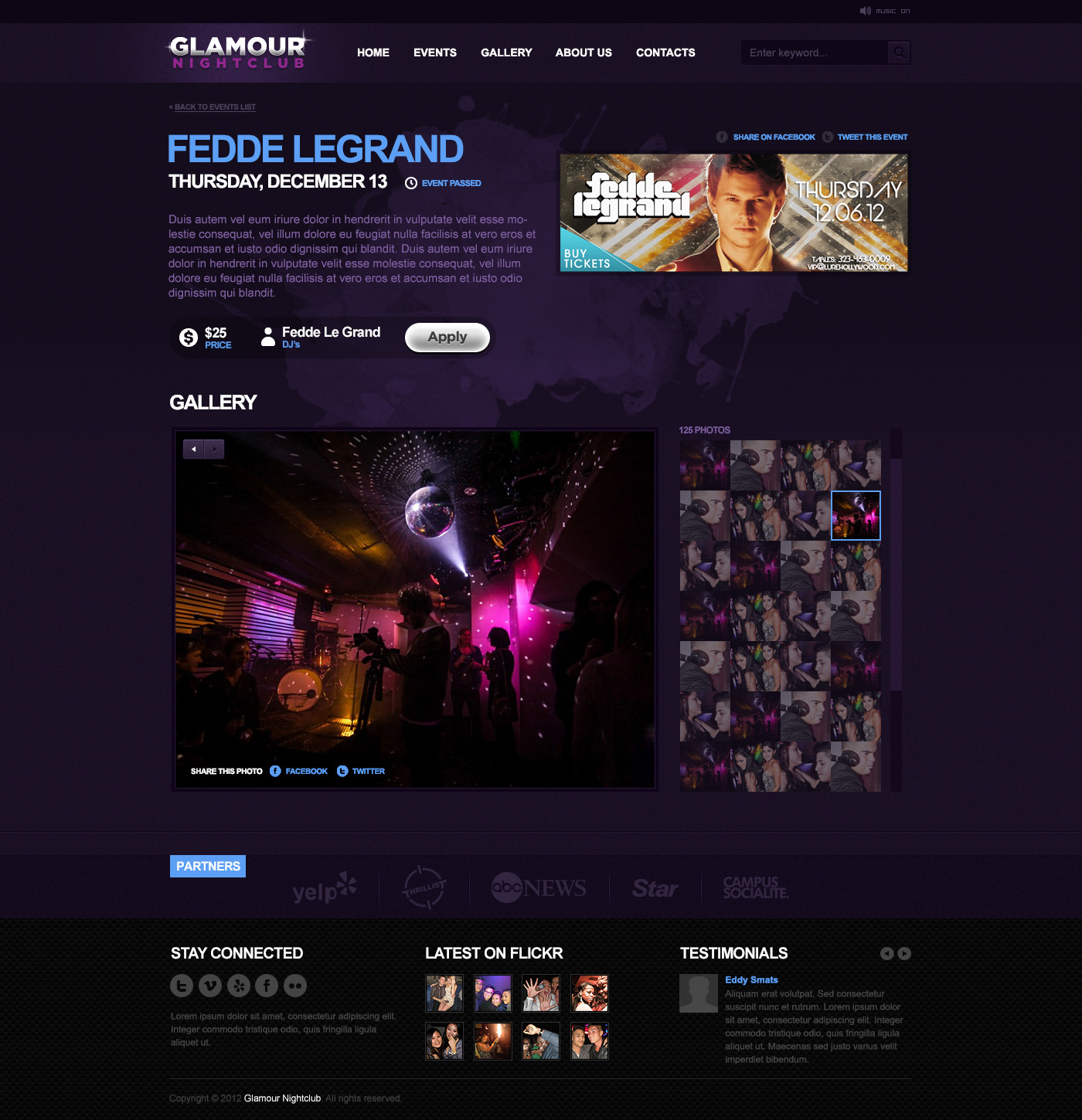 Glamour Nightclub - PSD Template