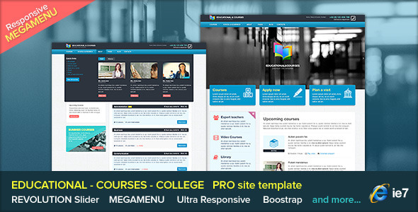 EDU - Educational, Courses, College with Megamenu - Corporate Site Templates