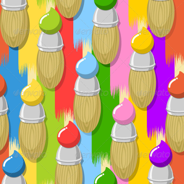 GraphicRiver Paint Brushes Pattern 5210932