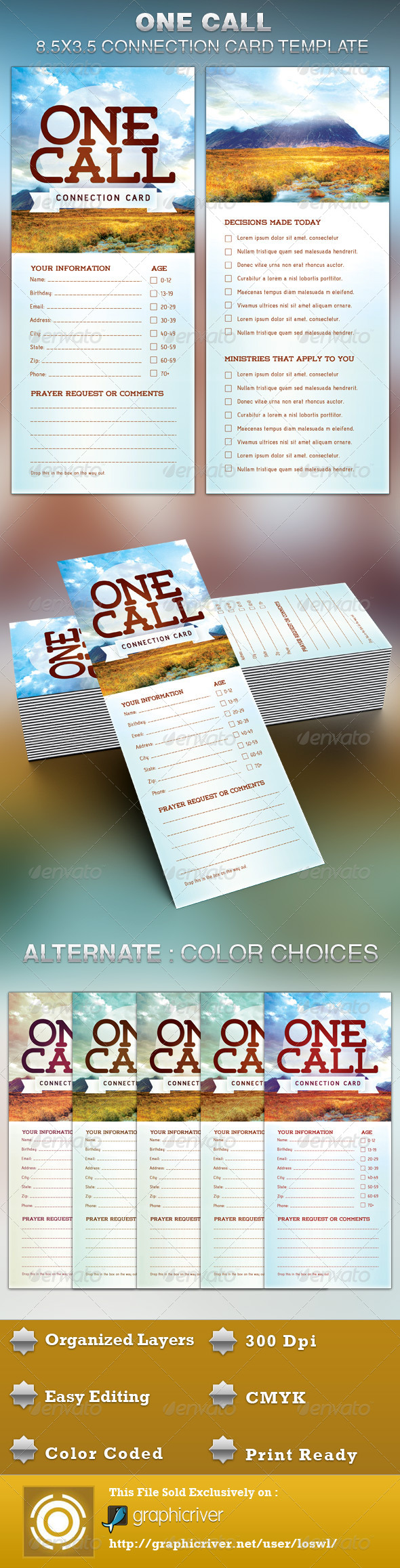 GraphicRiver One Call Church Connection Card Template 5210968