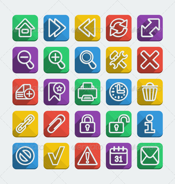 GraphicRiver Long Shadows Flat Icons Set 5211063