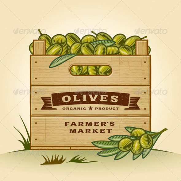 GraphicRiver Retro Crate Of Olives 5211131