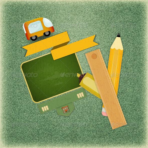 GraphicRiver Back to School Retro Card 5211144