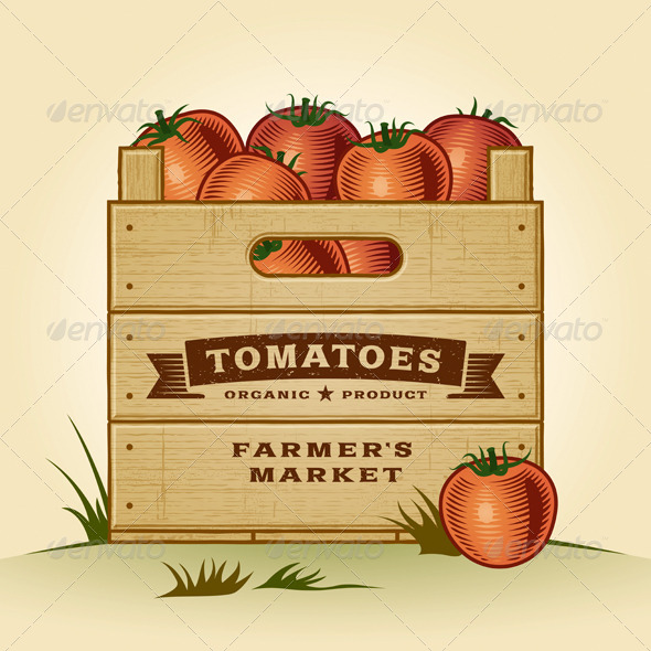 GraphicRiver Retro Crate Of Tomatoes 5211145