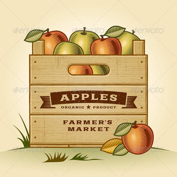 GraphicRiver Retro Crate of Apples 5211156