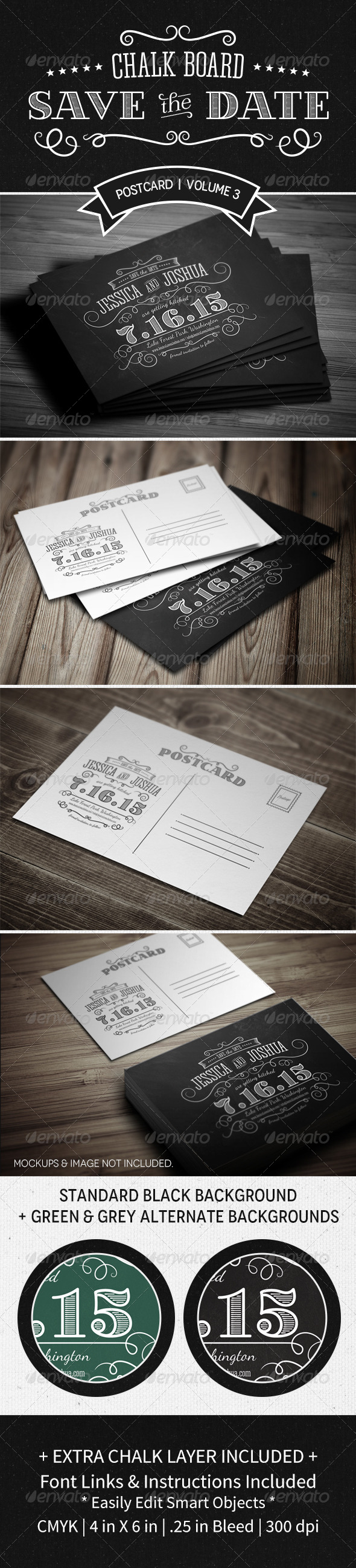 GraphicRiver Save The Date Postcard Volume 3 Chalkboard 5211249