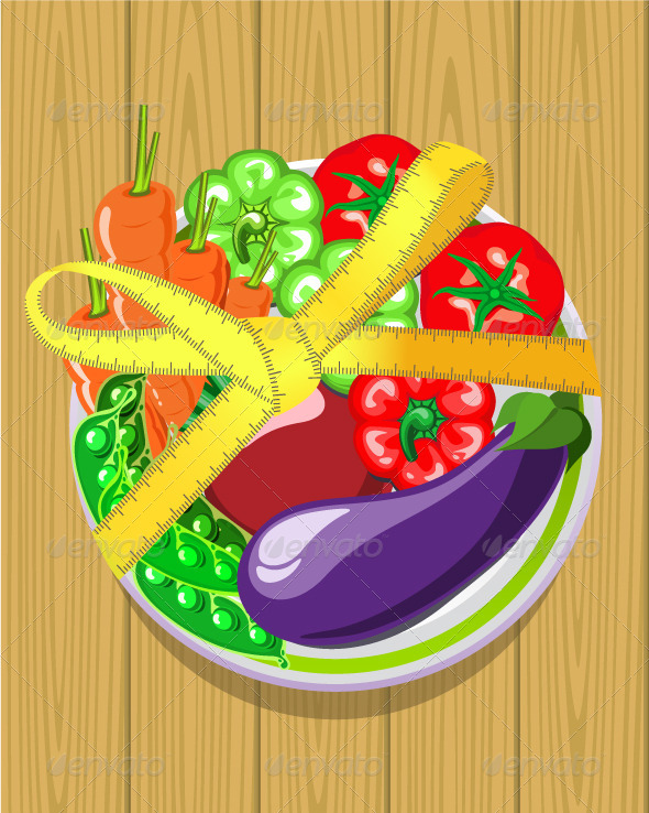 GraphicRiver Vegetables on a Plate with a Measuring Tape 5211259