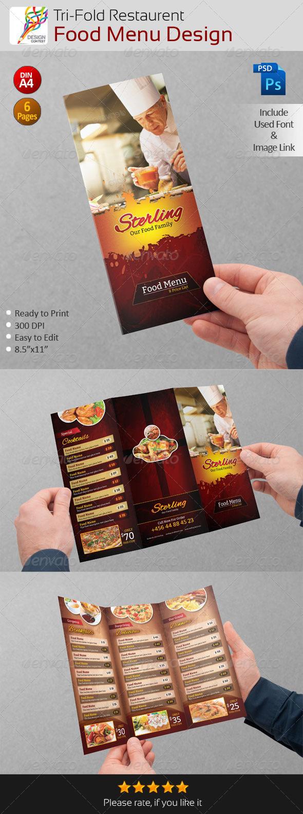GraphicRiver Creative Restaurent Tri-Fold Food Menu Design 5211702