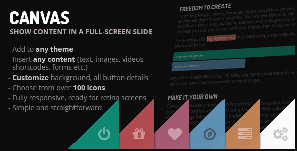 CodeCanyon CANVAS Show any content in a full-screen slide 5206426