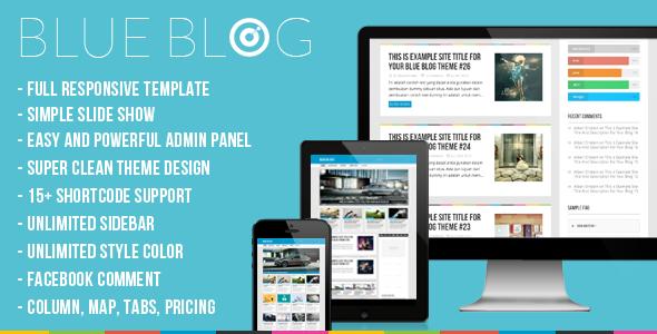 ThemeForest Blog Blue Blog Responsive Wordpress Blog Theme 5148561