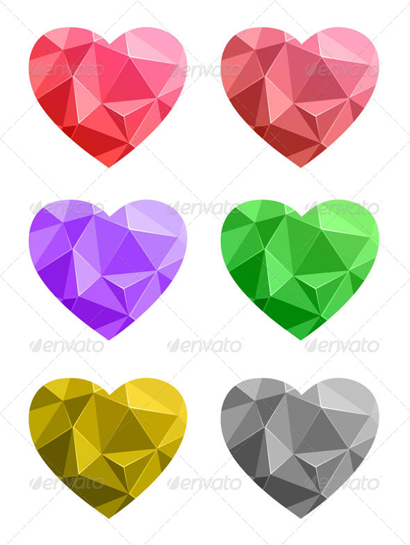 Set of Colorful Paper Hearts - Valentines Seasons/Holidays
