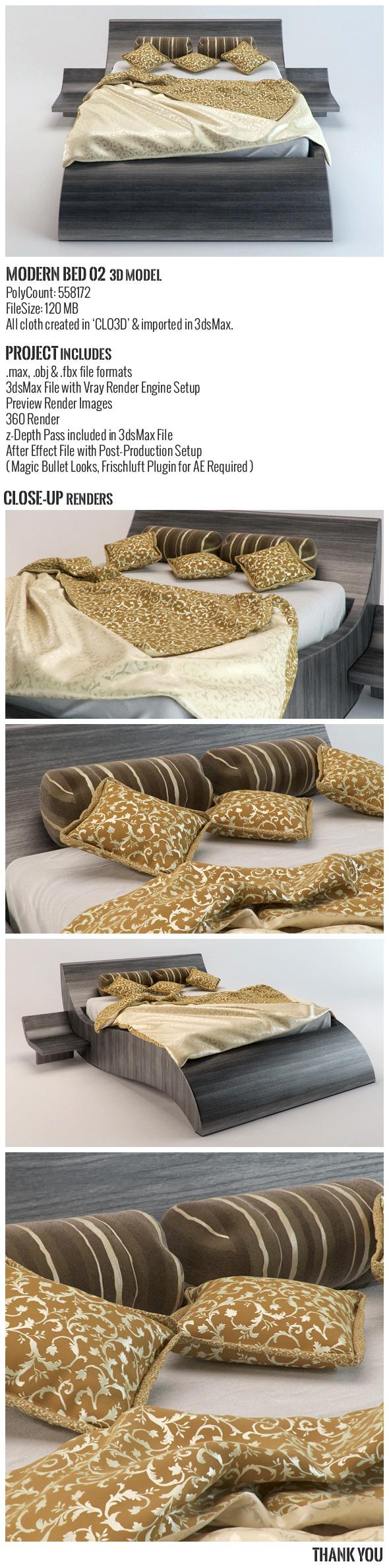 Modern Bed 02 3D Model - 3DOcean Item for Sale