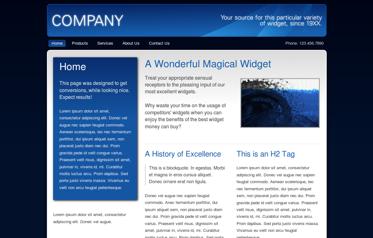 Dark Business - The home page of the blue version.