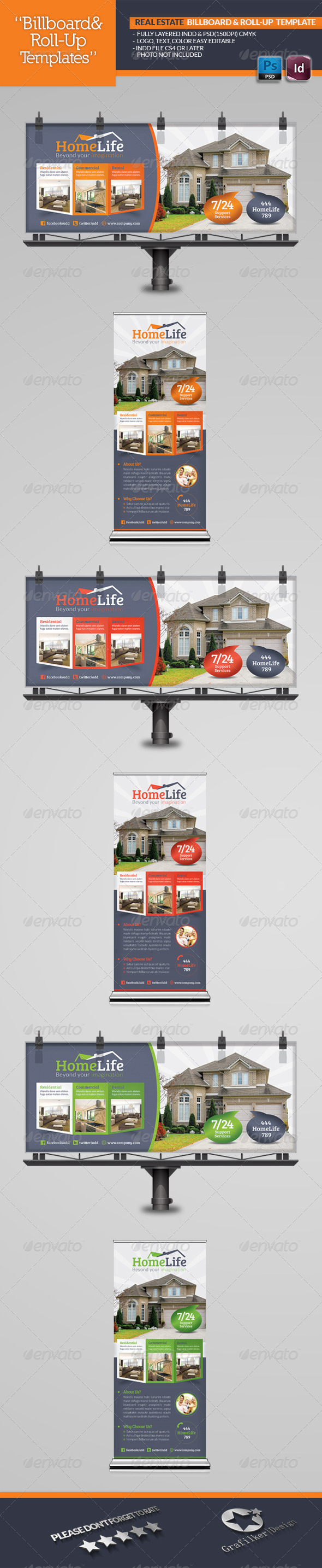GraphicRiver Real Estate Billboard & Roll-Up Template 5212636