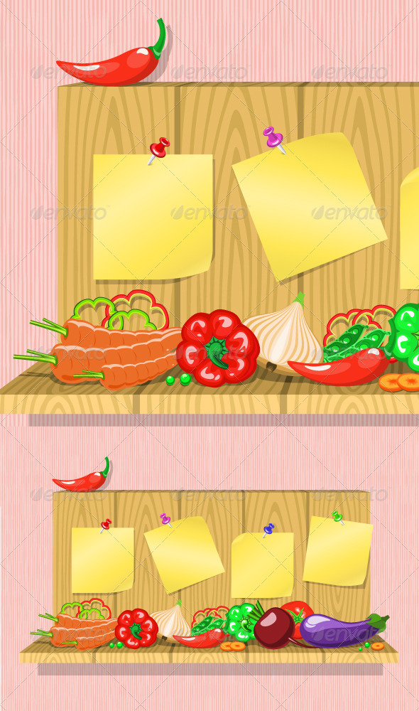GraphicRiver Vegetables on the Shelf with Stickers 5212815