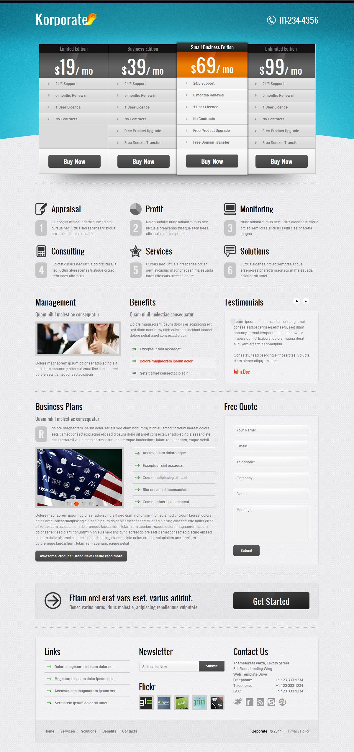 Korporate - Landing page 220 variation