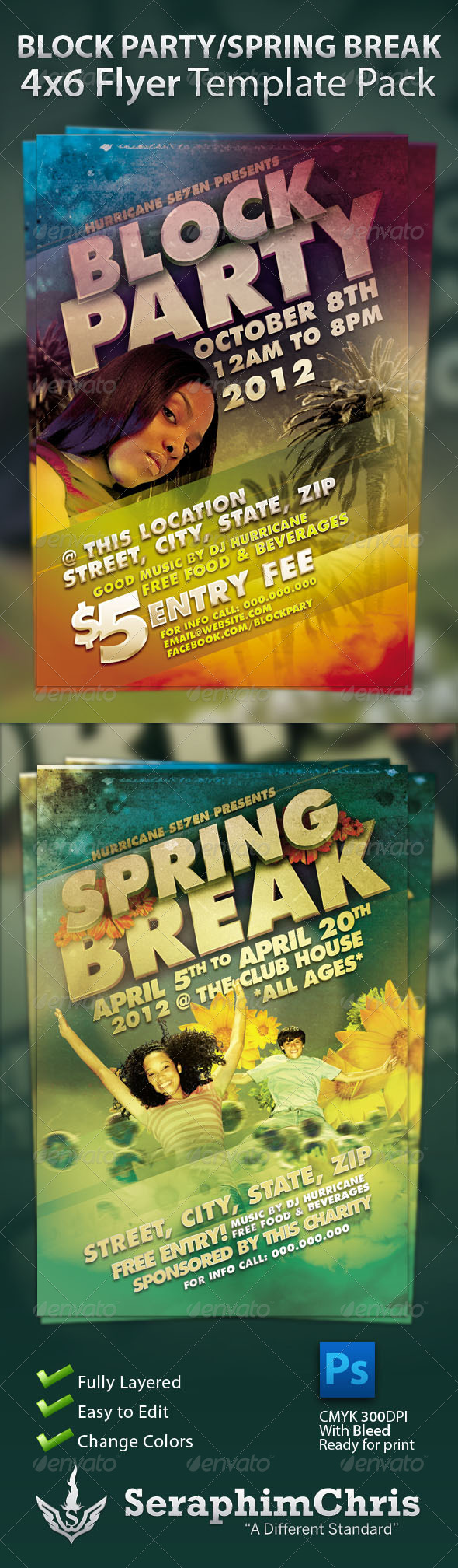 GraphicRiver Block Party and Sping Break Flyer Template Pack 535123