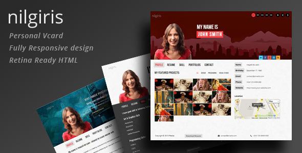 nilgiris - Personal Vcard Responsive Retina HTML - Personal Site Templates