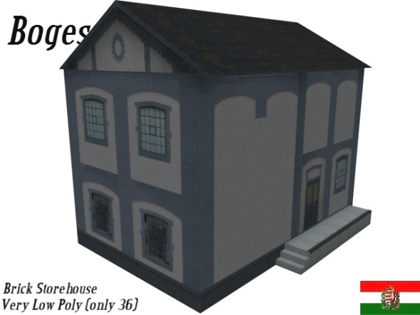 3DOcean Textured Brick Store House Low Poly 5192785