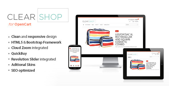 ThemeForest Clearshop Responsive OpenCart theme 5213165