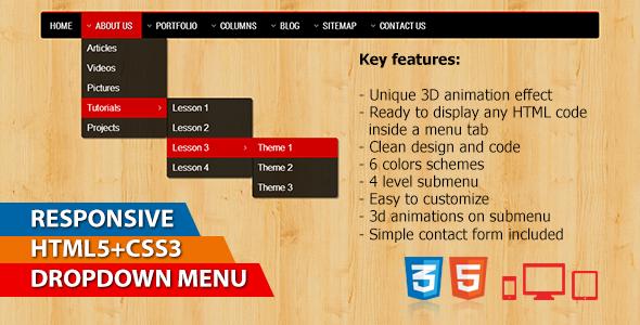 CodeCanyon Responsive 3D CSS3 Menu 5213229