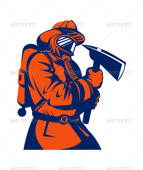 GraphicRiver Firefighter Holding an Ax 5213242