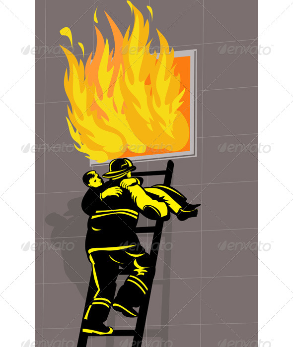 GraphicRiver Firefighter Saving Boy from Burning Building 5213254